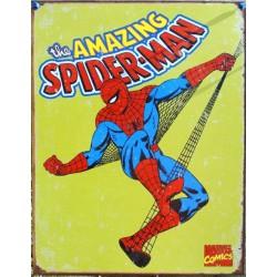 plaque super hero spiderman sur fond jaune amazing usa