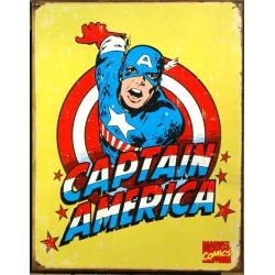 plaque super hero captain america sur fond jaune affiche usa