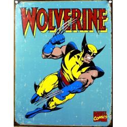 plaque super hero wolverine sur fond bleu affiche tole usa
