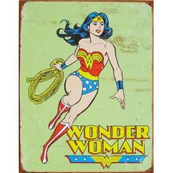 plaque super hero wonder woman sur fon vert tole affiche