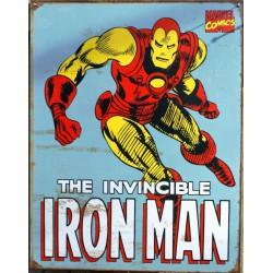 plaque super hero the invincible iron man sur fond bleu usa