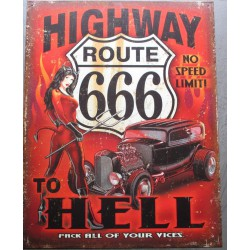 plaque highway to hell hot rod noir pin up 666 tole pub usa