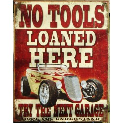 plaque hot rod no tools ford 34  a flammes tole publicitaire
