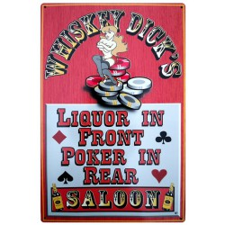 plaque pin up liquor & poker whiskey saloon tole deco usa