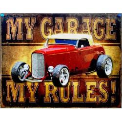 plaque hot rod  rouge cab my garage tole publicitaire loft