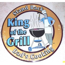 plaque king of the grill ronde tole deco  snack restaurant