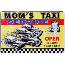 plaque mom's taxi service tole publicitaire style retro usa