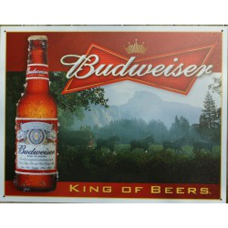 plaque budweiser kink of beer tole deco bar biere americaine
