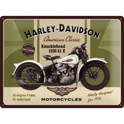 plaque harley davidson blanche beige sur fond vert tole bar