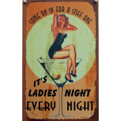 plaque pin up et verre martini  ladie's night tole deco bar