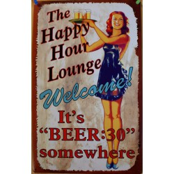 plaque pin up serveuse happy hour welcome tole deco bar