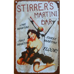 plaque pin up verre martini bar stirre's deco diner en tole