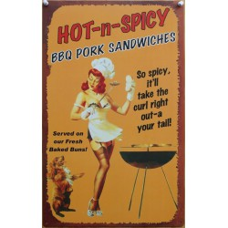 plaque pin up barbecue hot & spicy tole deco cuisine diner
