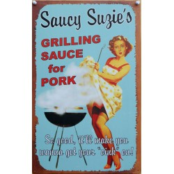 plaque pin up barbecue saucy suzie's tole déco restaurant