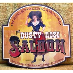 plaque pin up dusty rose saloon tole deco bar diner usa