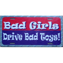 plaque d'immatriculation bad girls drive bad toys tole usa