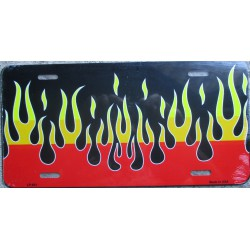 plaque d'immatriculation flammes jaune orange fond noir tole