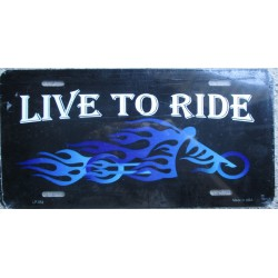 plaque d'immatriculation live to ride moto a flammes bleu us