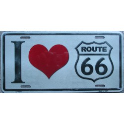 plaque d'immatriculation route 66 coeur tole beige deco bar