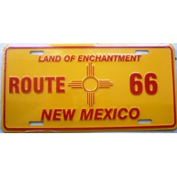 plaque d'immatriculation route 66 new mexico jaune tole usa