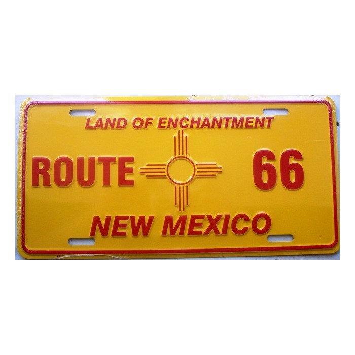 plaque d 39 immatriculation route 66 new mexico jaune tole usa et. Black Bedroom Furniture Sets. Home Design Ideas