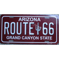 plaque d'immatriculation route 66 arizona rouge tole deco us