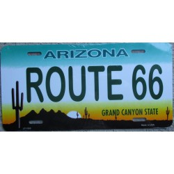 plaque d'immatriculation route 66 desert arizona tole pub