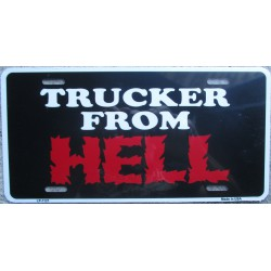 plaque d'immatriculation truker from hell pub camion routier