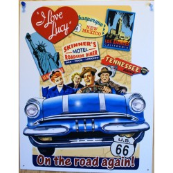 plaque  i love lucy on the road again tole affiche serie usa