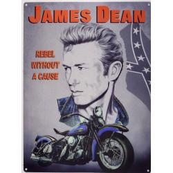 plaque james dean rebel without a cause et moto bleu