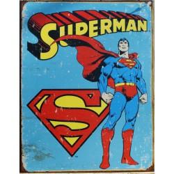 plaque super hero superman fond bleu affiche tole chambre