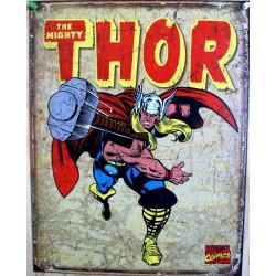 plaque super hero thor qui lance son marteau affiche deco us