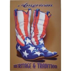 plaque botte drapeau usa tole déco americaine affiche