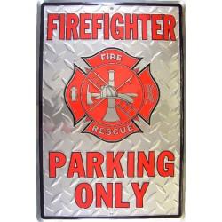 plaque pompier en alu rect  firefighter parking affiche méta
