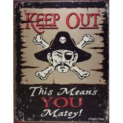 plaque keep out danger pirates !! tole deco drole  bar usa