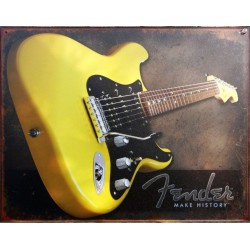 plaque fender guitare jaune sur fond gris affiche tole usa