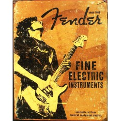 plaque fender fine electric guitariste deco us affiche jaune