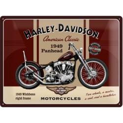 plaque harley davidson bordeau panhead tole pub affiche