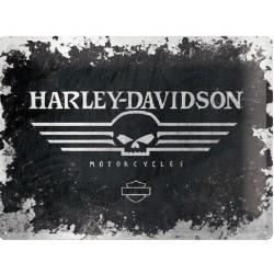 plaque harley davidson  motorcycle crane tole bombée pub