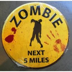 plaque zombies ronde jaune next 5 miles tole walking dead us