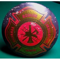 plaque pompier bombée  logo americain usa tole metal pub