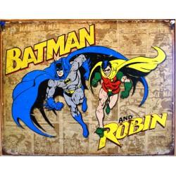 plaque super hero batman et robin sur fond beige affiche usa