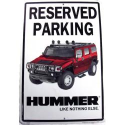 plaque hummer parking h2 rouge fond blanc deco garage