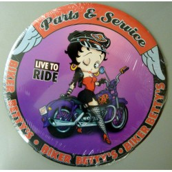 plaque betty boop bikeuse parts & service tole deco pin up