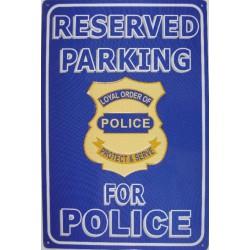 plaque parking for police bleu deco  en tole afffiche pub us