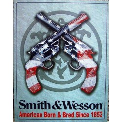 plaque smith & wesson drapeau usaen revolver croisé pub usa