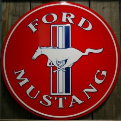 plaque ford mustang rouge 60cm tole deco pub americaine usa
