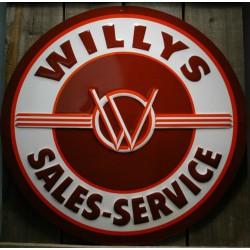 plaque willys  sales & service 60cm tole deco garage  jeep