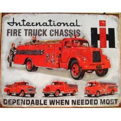 plaque camion pompier international affiche tole deco usa