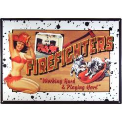 plaque pompier pin up et chien dalmatien firefighters usa